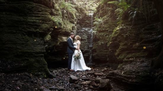 Waterfall wedding photography Hobart