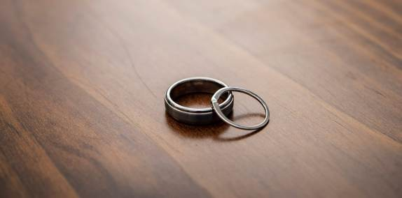 wedding rings on table top