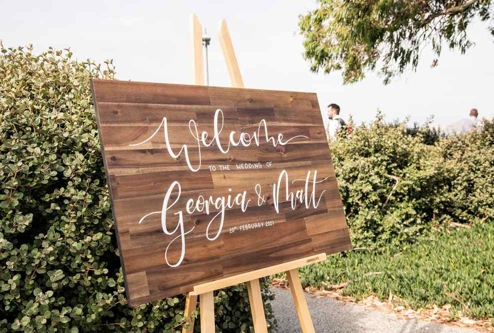 Wedding sign on easel