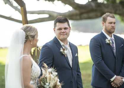 Smiling groom during Jervois Park Wedding