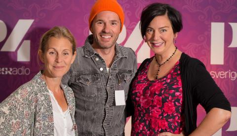 Helen Sjöholm och Peter Jöback med Nina Allergren pratar musikal. Foto: Åsa Stöckel/Sveriges Radio