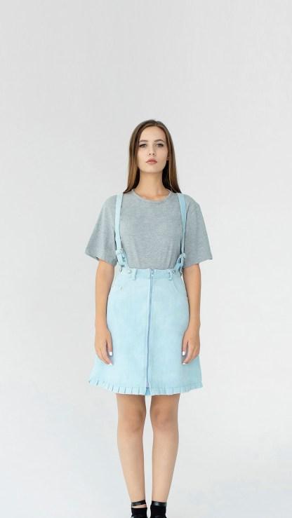 women denim mini A-line skirt light blue detachable suspenders removable loops details fake leather fashion front details
