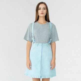 women denim mini A-line skirt light blue detachable suspenders removable loops details fake leather fashion front details