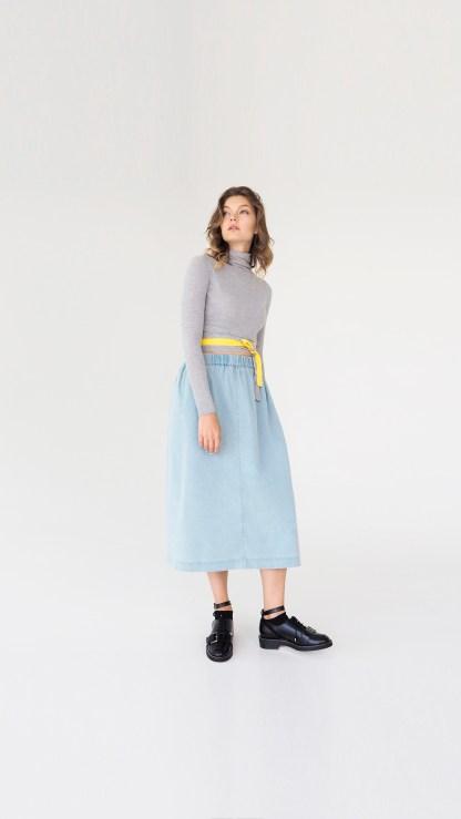 women denim a-line midi skirt light blue seam front details elastic waist