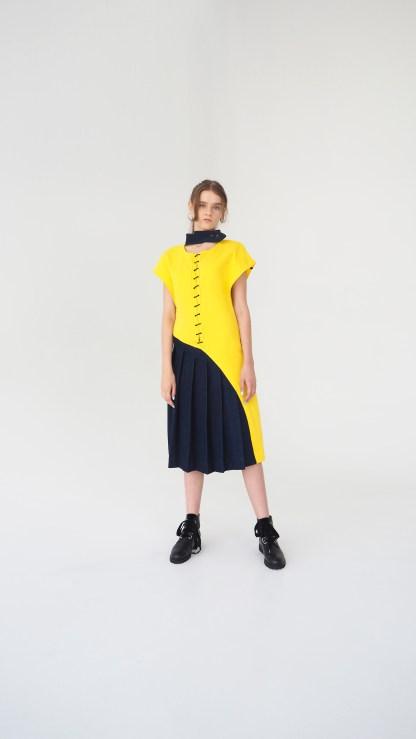 women denim midi design dress yellow and dark blue pleated bottom metal lase front golden details fashion desigh collar