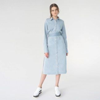 women denim midi shirt cut out dress light blue removable belt metal silver details inner side pockets epaulettes