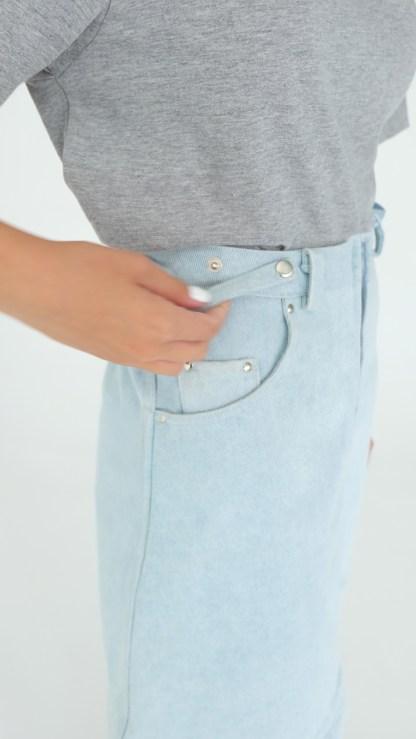 women denim mini A-line skirt light blue detachable suspenders removable loops details fake leather fashion details