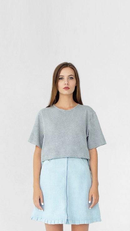 women cotton crop top boyfriend t-shirt light grey