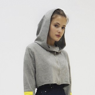 Women Cotton Grey sports short crop top Jacket Fashion zip front hood design sleeve yellow patch