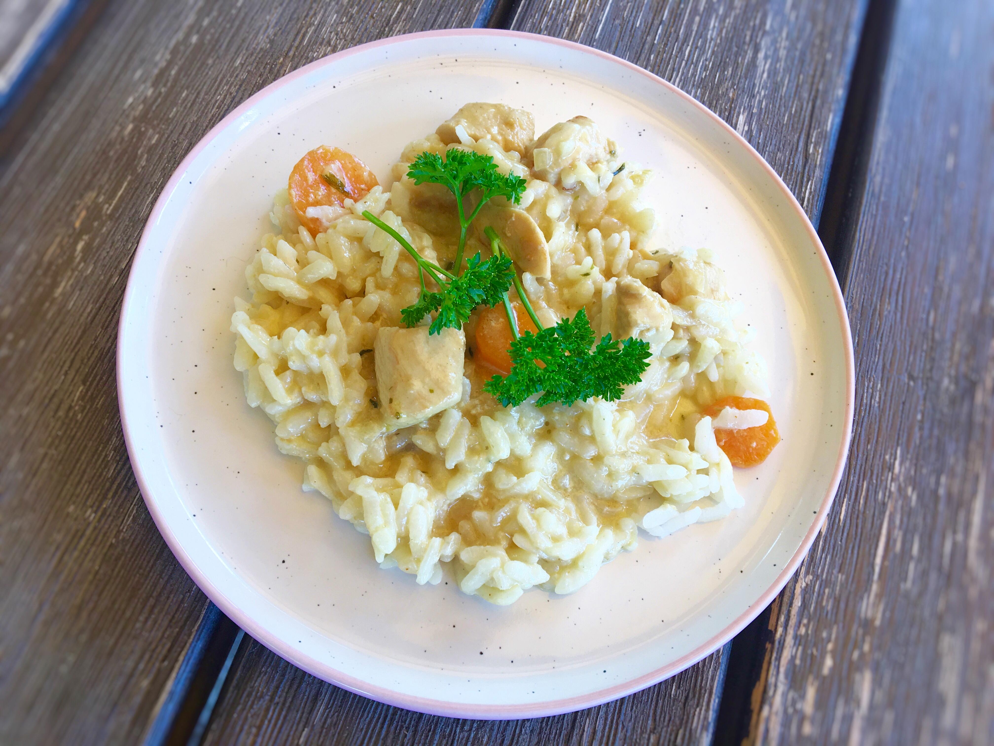 Hühnergeschnetzeltes mit Reis