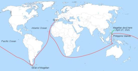 Mapa první cesty kolem světa