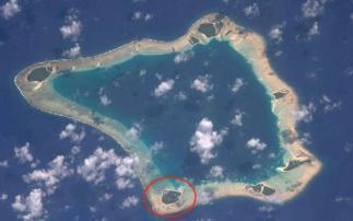 Palmerston na satelitním snímku