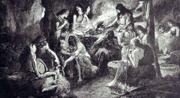 pralidé v jeskyni