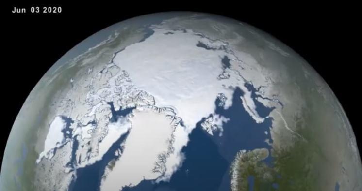 Stav ledu na počátku června 2020. Foto: NASA's Scientific Visualization Studio