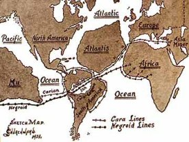 Mu a Atlantida na jedné mapě. Zdroj: Volné dílo