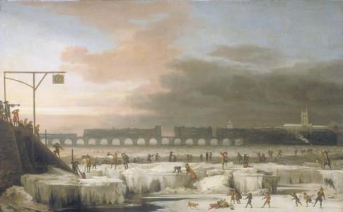 Zamrzlá Temže vroce 1677