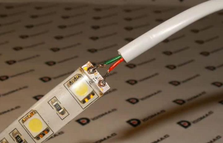 kabel solder ke strip led silikon