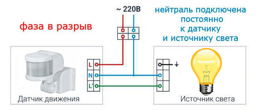 Diagram koneksi sensor gerak tiga kawat