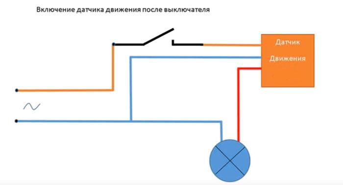 выключатель последовательно включенный к датчику движения