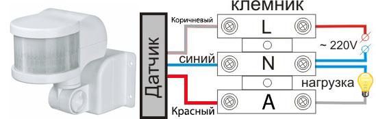 Verbindungsdrähte an den Anschlüssen des Drei-Draht-Bewegungssensors