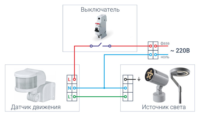 Sirkuit koneksi sensor gerak dengan tiga kontak