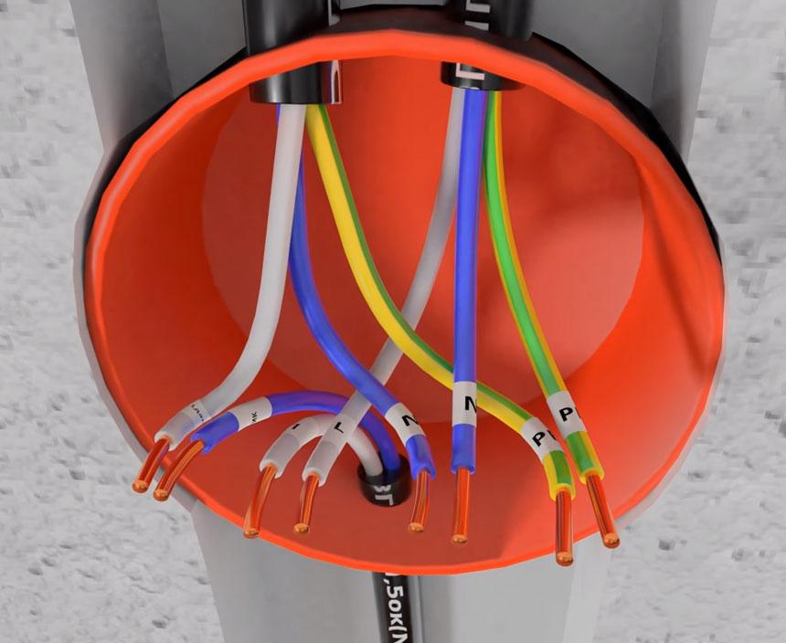 Koneksi kabel di unit distribusi pada sensor gerak