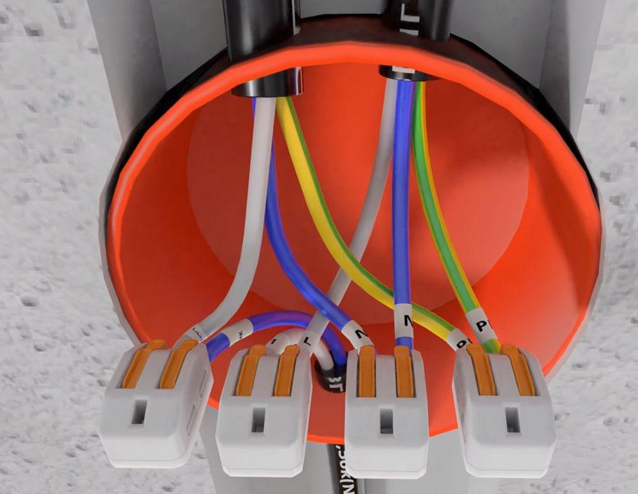схема соединения и подключения проводов в распредкоробке на датчик движения