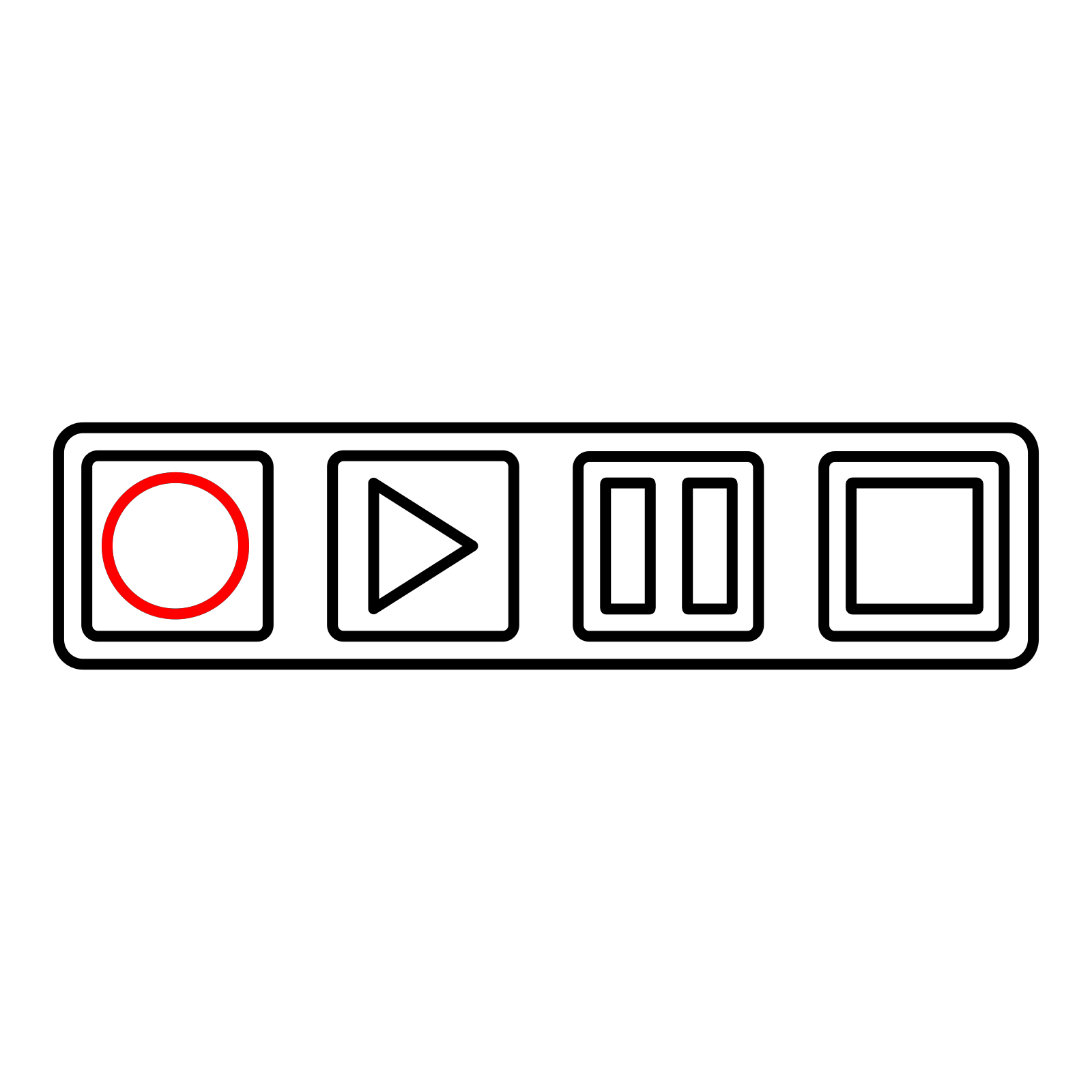 Tape Deck Control Buttons Outline Clip Art Icon And Svg