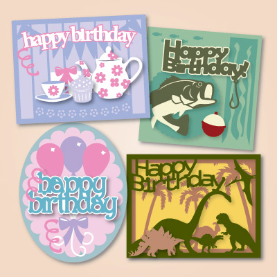 Happy Birthday Cards Svg Kit 5 99 Svg Files For Cricut Silhouette Sizzix And Sure Cuts A Lot Svgcuts Com