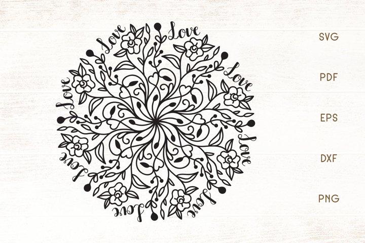 Download Free Floral Love Mandala SVG File - Free SVG 4U