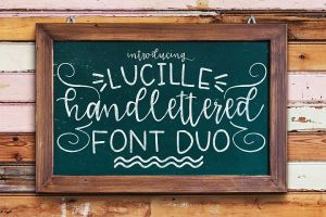 lucille handlettered font duo
