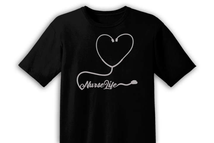 nurselife stethescope on black tshirt free svg file