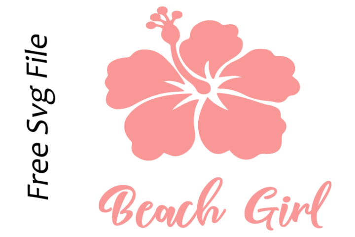 beach girl hibiscus free svg file