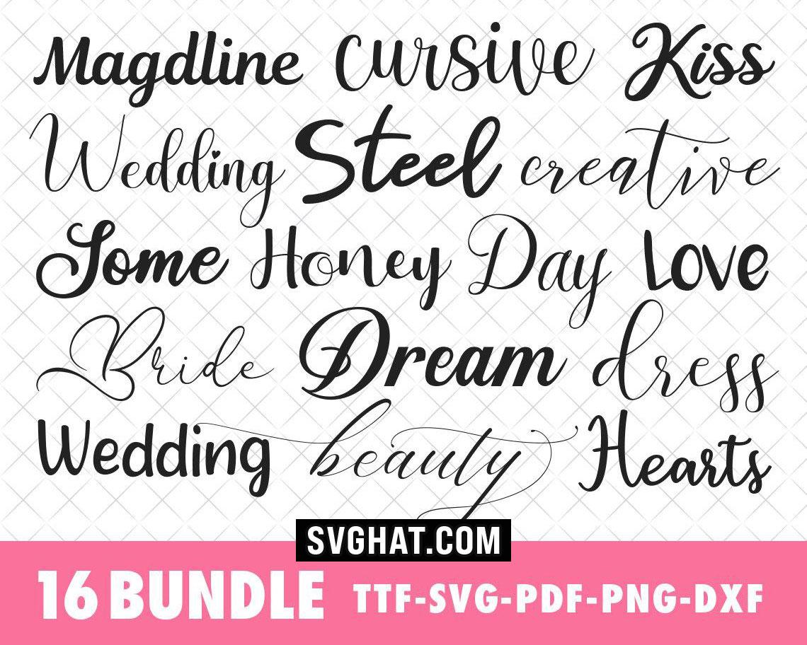 Download Cursive SVG Fonts Bundle, Wedding Font Bundle for Cricut ...