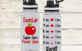 Teacher Super Hero Power Juice Water Bottle SVG