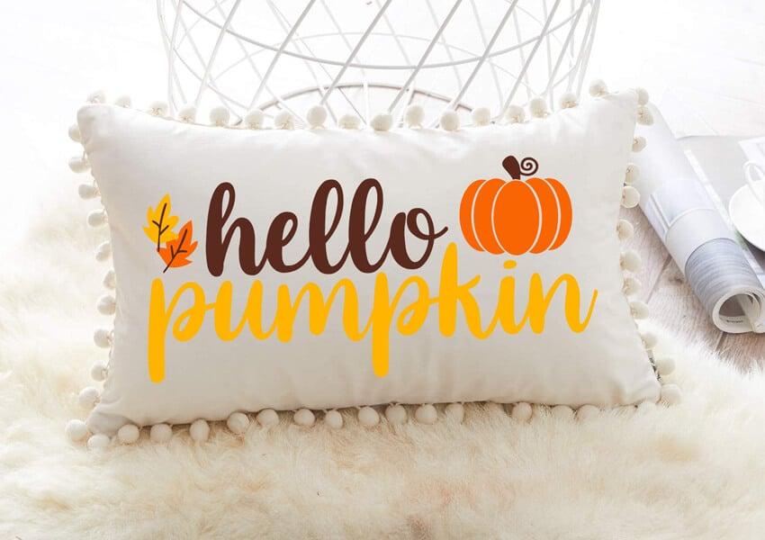 Hello Pumpkin SVG for throw pillows