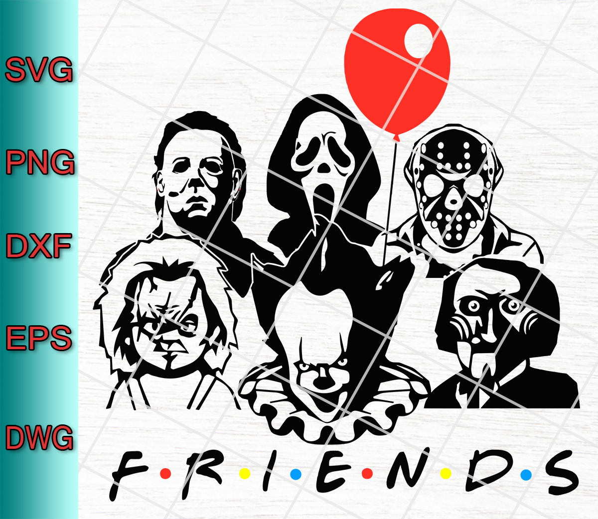 Halloween Friends Shirt Svg.Friends Horror Movie Creepy Halloween Svg Png Eps Dxf Designs Digital Download