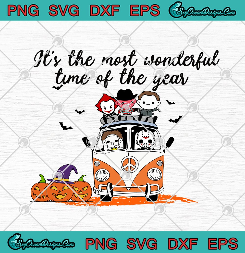 Horror Movies Characters Chibi Hippie Car It S The Most Wonderful Time Of The Year Halloween Svg Png Eps Dxf Cricut File Designs Digital Download