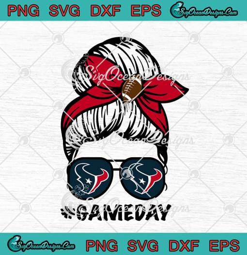 Houston Texans Game Day Messy Bun American Football Lover svg cricut