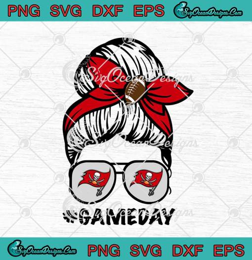 Tampa Bay Buccaneers Game Day Messy Bun American Football Lover svg cricut