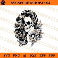 Skull Girl Flower SVG
