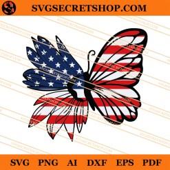 American Flag Sunflower Butterfly SVG