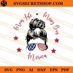 Mom Life Messy Bun Merican SVG