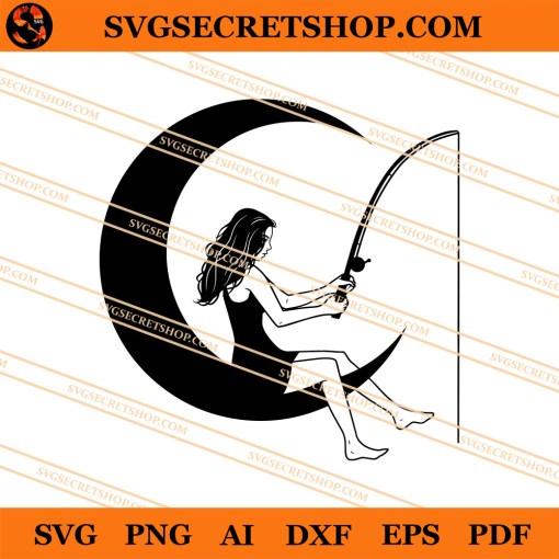 Girl Fishing On The Moon SVG