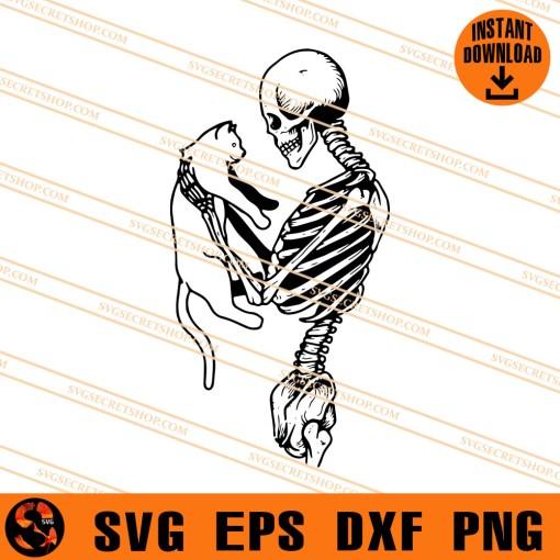 Skeleton With Cat SVG