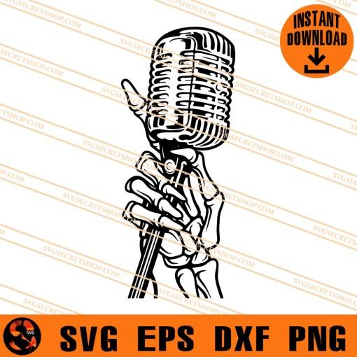 Skeleton hand holding microphone SVG