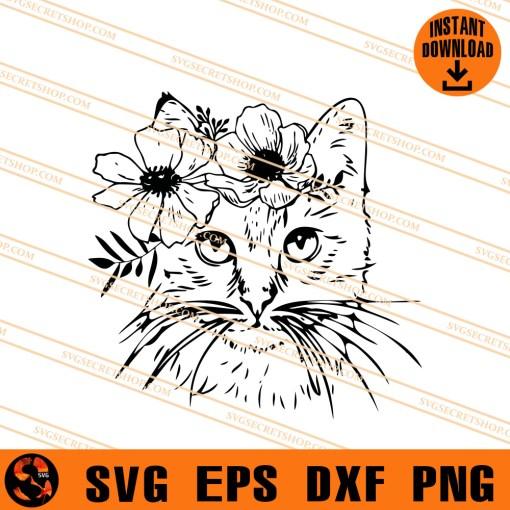 Floral cat SVG