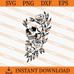 Skull and Flowers SVG