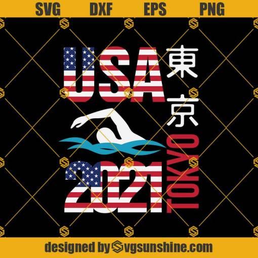 Tokyo Olympics 2021 USA Svg, Team Swimming American Flag Svg, Olympics Svg, Swimming Svg
