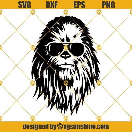 Shades Sunglasses Chewbacca Head Svg, Cool Chewbacca Svg, Chewbacca Svg, Chewie Svg, Chewie Head Svg, Star Wars Svg